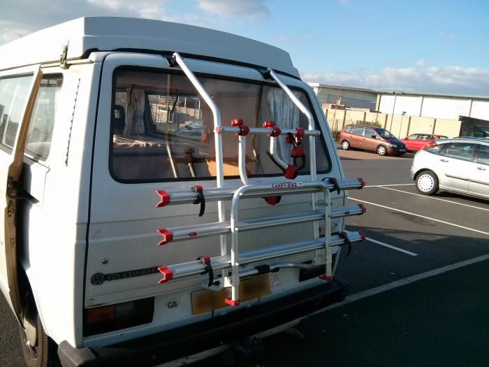 Vw T25 T3 Vanagon Bike Rack With Uprated Gas Struts